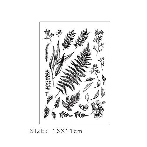 Flower Leaves Greeting Fun Silicone Rubber Transparent Clear Stamps Office Stationery Decor Collection for DIY Handmade Scrapbooking Photo Album Planner Diary Decoration Scrapbook (#3)]()