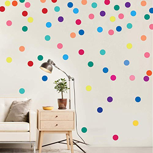PARLAIM Wall Stickers for Bedroom Living Room, Polka Dot Wall Decals for Kids Boys and Girls, Multicolor 2inch 60Circles