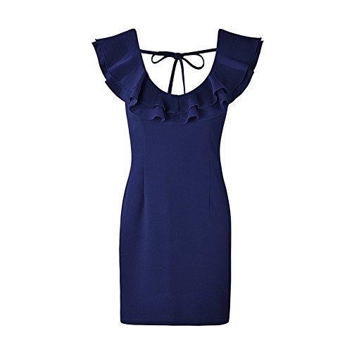 V Vestiti Backless Blu Mini Sovrapposizione Scollo Vestito Matita Womens Capsleeve Volant Aderenti Chicfor A Dalla Scuro w6Cqnnx5pX
