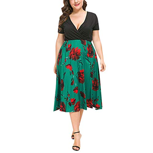 iTLOTL Dresses for Women Casual Summer V-Neck Print Pattern Stretchy Plus Size Swing Dresses(XXXXX-Large,Green)