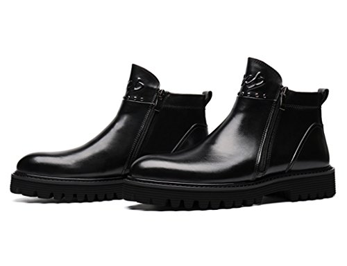 Zapatos Clásicos de Piel para Hombre Zapatos de cuero para hombres Martin Short Boots Zapatos de estilo británico High-top ( Color : Negro , Tamaño : EU40/UK6.5 ) Negro