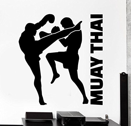BorisMotley Wall Decal Sport Fighters Muay Thai Vinyl Removable Mural Art Decoration Stickers for Home Bedroom Nursery Living Room Kitchen