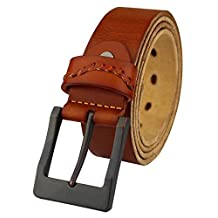 Heepliday Men's Simple Casual Soft Vintage Leather 15009 Belt XXX-Large 40-42 Light-brown