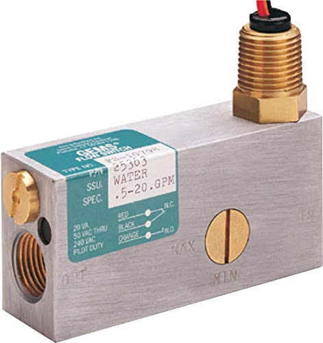 Gems Sensors FS-10798 Series Brass Flow Switch For Use With Gases, Inline, Piston Type, With Lead Wires, 0.50-20 gpm Flow Setting Adjustment Range, 1/2'' NPT Female