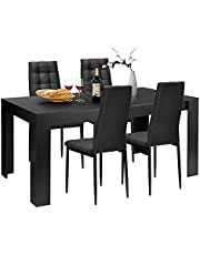 """5 Piece Wood Black Rectangular 63""""Modern Dining Room Table Set with 4 Upholstered Chairs,Kitchen Table Set"""