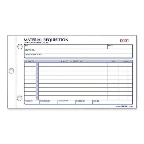 Rediform Material Requisition Book, Carbonless, 2 Part, 4.25 x 8.5 Inches, 50 Forms (1L114) (Material Requisition Book)