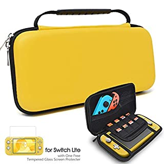 Donobi Carrying Case for Nintendo Switch Lite with Screen Protector, Protective Travel Case with 8 Game Slots and Portable Hard Shell Travel Pouch Storage for Switch Lite Console & Accessories-Yellow