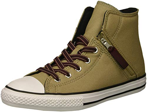 Converse Boys' Chuck Taylor All Star Pull Zip High Top Sneaker, Khaki/Dark Burgundy/Black, 12 M US Little Kid ()