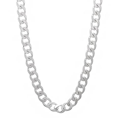 925 Sterling Silver 4.3mm Beveled Cuban Link Nickel Free Chain Necklace, 24