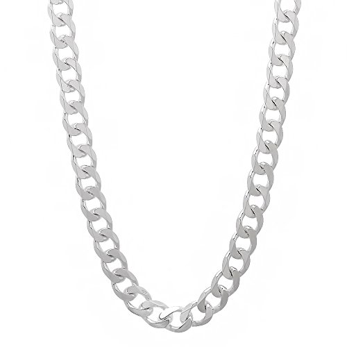 Beveled Curb Chain (4.4mm 925 Sterling Silver Nickel-Free Beveled Cuban Curb Link Italian Chain, 22