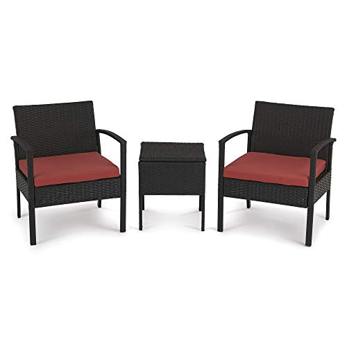 LOANAN 3 Pieces Outdoor Patio Furniture Sets, Rattan Wicker Chair Modular Sectional Sofa Set Red Cushion with Table