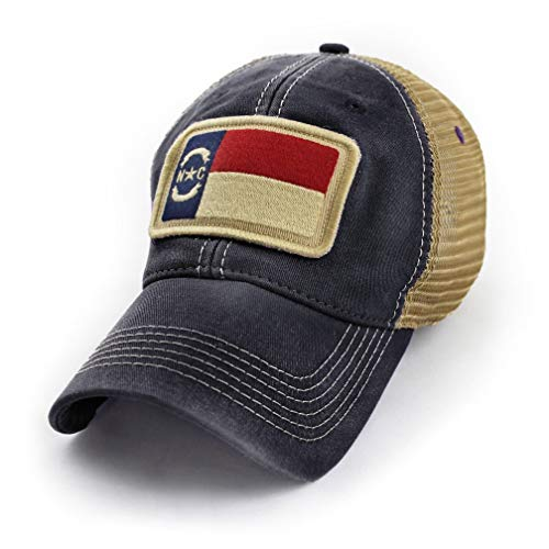 (North Carolina Flag Patch Trucker Hat, Black)