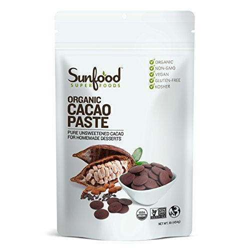 Cacao Paste - Sunfood Superfoods Cacao Paste- Organic, Non-Gmo. 1 lb Bag