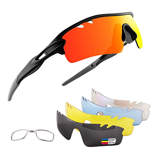 OULIQI Men Polarized Sports Sunglasses with 5 Interchangeable Lenes Cycling Glasses for Women Running Driving Fishing Golf Baseball XQ515 (Black Sand/Gray)