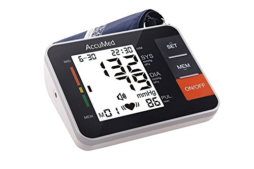 AccuMed ABP802 Upper Arm Blood Pressure Monitor with Audio-Voiced Instructions & Readouts - Black
