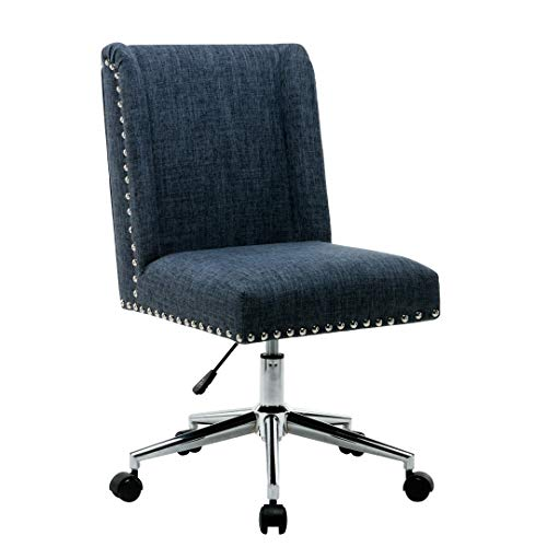 Porthos Home Office Chair With Fabric upholstery Studded Design, One Size, Blue (Retro Fabric Upholstery)