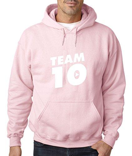 New Way 742 - Adult Hoodie Team 10 Ten #Team10 Jake Paul Unisex Pullover Sweatshirt Large Light Pink