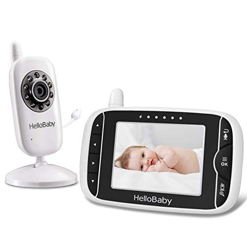 Video Baby Monitor with Camera and Audio | Keep Babies Safe with Night Vision, Talk Back, Room Temperature, Lullabies, 960ft Range and Long Battery Life by HelloBaby