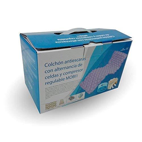 Colchón antiescaras con alternancia de celdas y compresor regulable | Color lila | Soporta hasta 135 kg | Alta calidad y fiabilidad | Modelo Mobi 1 | ...