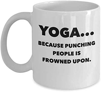 Amazon Com Funny Yoga Coffee Mug Christmas Yoga Lovers Gifts Unique Cool Cute Humor Sarcasm Gift Idea For Yoga Instructors Learners Students Best Christmas Gifts Novelty 11oz White