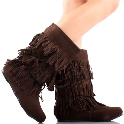 Women's Faux Suede Fringe Moccasin Beaded Tassle Mid Calf Boots Black, Camel. Brown (7, Dark (Brown Apache Fringed Shoes)