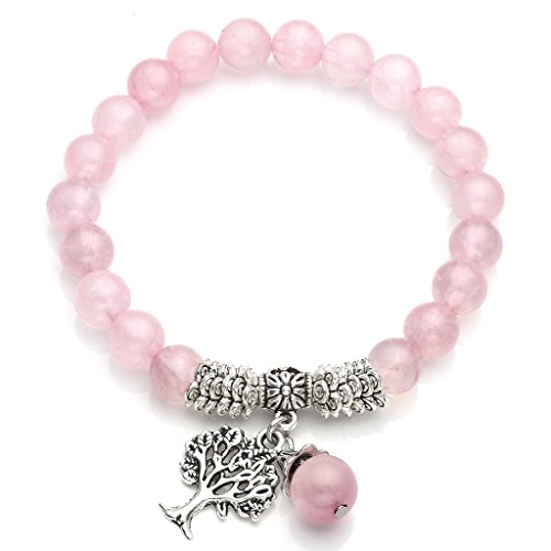 Top Plaza Stretch Rose Quartz Tree of Life Lucky Stone Bracelet Reiki Healing Crystal Gemstone Dangle Charms Pendant Birthstone Bracelet(6.2