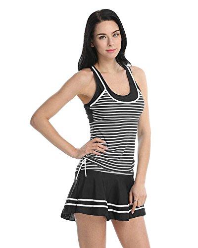 Summer Mae Mujer Bañador A Rayas Trajes de dos pieza Con falda Negro