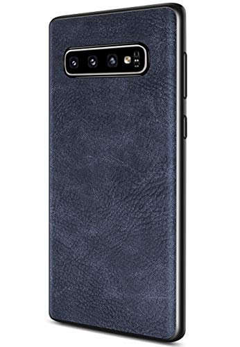 Samsung Galaxy S10 Plus Case, Salawat Slim PU Leather Vintage Shockproof Phone Case Cover Lightweight Premium Soft TPU Bumper Hard PC Hybrid Protective Case for Samsung Galaxy S10 Plus (Blue) from SALAWAT