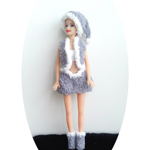 Santa Barbie Dress, Handmade Knitting Yarn Dress. (gray)