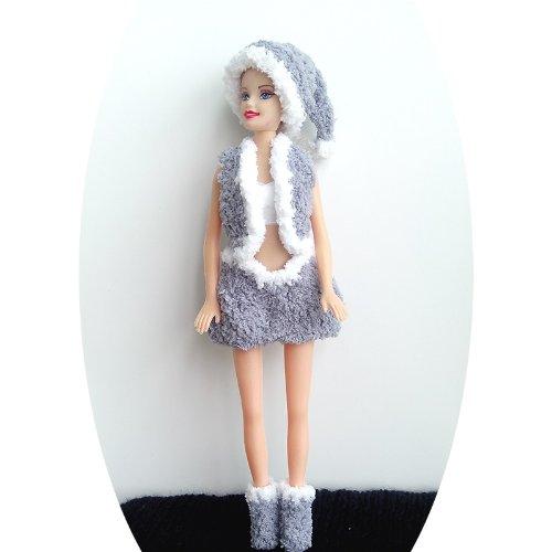 Santa Barbie Dress, Handmade Knitting Yarn Dress. (gray)