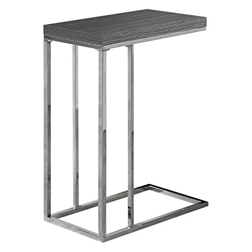 Monarch Specialties I 3007, Accent Table, Chrome Metal, Grey