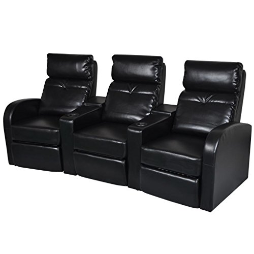 vidaXL Black Artificial Leather 3-Seat Home Theater Recliner Sofa Lounge w Cup Holder