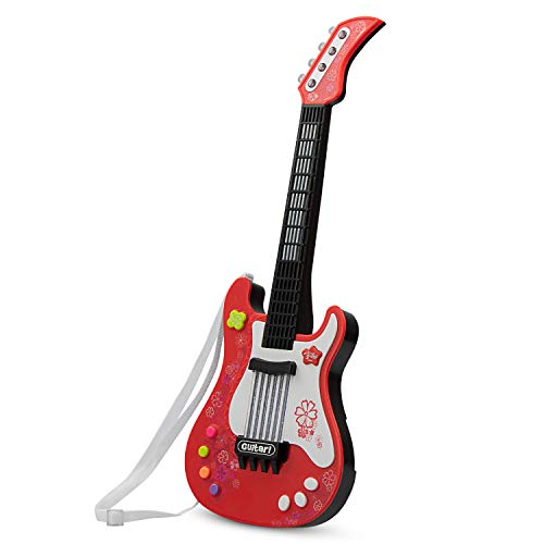 AIMEDYOU 21 Inch Kids Electric Guitar Toys with Vibrant Sounds Musical Instruments Educational Toy for Beginner Boys Girls Toddlers (No String & Red)