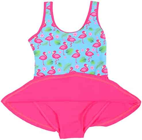 b360e68fde9ae One Piece Swimsuit for Girls Flamingo Pleated Princess Dress Swimwear  Bathing Suit
