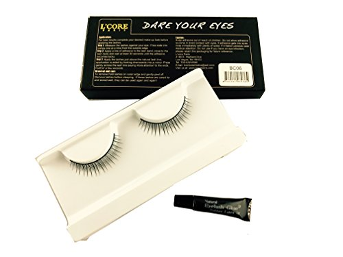 L'CORE Paris Fancy False Eyelashes -Made of 100 % Human Hair-Reusable Feathery Eye Lashes for Ladies-Enhance Your Lovely Eyes Long and Thick Eyelash-Easy to Apply-Available in Many Colors (BC06)