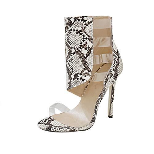 JJHAEVDY Women Snake Print Cutout Sandal Boots Open Toe Stiletto Sandals Fashion Sexy Zipper Dress Shoes High Heels Boots