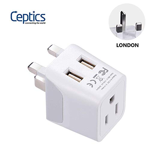 UK Travel Adapter Plug by Ceptics - with 2 USB + USA Socket Input - Type G - Ultra Compact - Safe Grounded Perfect for Cell Phones, Laptops, Camera Chargers