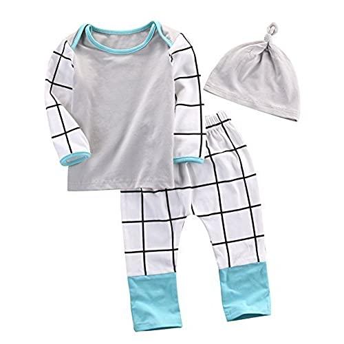 moore 3pcs newborn kids baby boy girl outfit clothes t shirt tops pants trousers hats 0 3 months hat top trousers