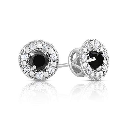 Halo Black Diamond Stud Earrings (Halo Black Diamond 1.00ctw White Topaz) ()
