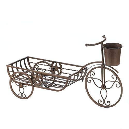 - Lapha' Rustic Countryside Plant Pot Stand Farmhouse Pedicab, Tricycle Country Western Star Bicycle Flower cart Shelf Iron Plant Pot Planter Stand Trishaw, Brown 26.5