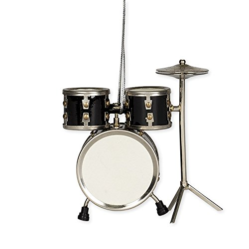 Black Drum Set Hanging Ornament Music Musical Instrument Ornament 3.5 inches ()