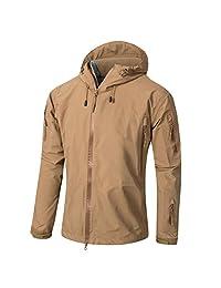 TACVASEN Men's Lightweight Waterproof Hard Shell Tactical Jacket Coat