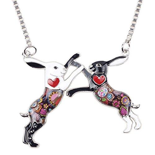 BONSNY Love Heart Enamel Zinc Alloy Metal Rabbit Hares Boxing Necklace Animal pendant Unique Design 18