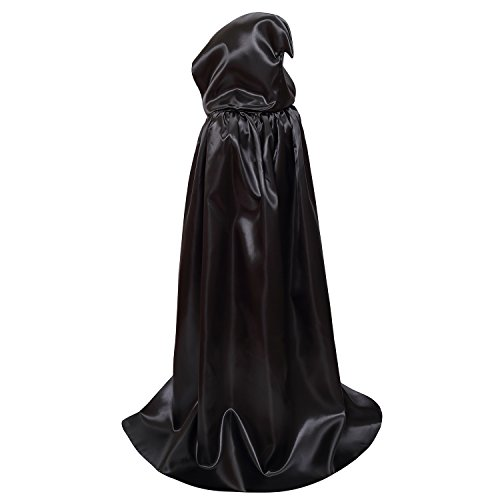 OurLore Kids Hood Cloak Costume Full Length Cape for Halloween Christmas Coaplay Cloak (Black, 100cm / 39.4inch)