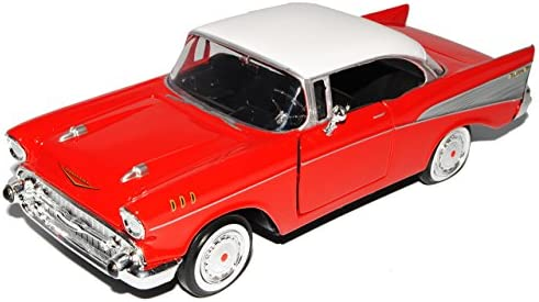 Motormax Chevrolet Chevy Bel Air 1957 Rot Coupe Oldtimer 1 24 Modellauto Modell Auto Spielzeug
