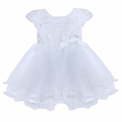 FEESHOW Infant Baby Girls' Organza Layered Baptism Dress White 12-18 Months