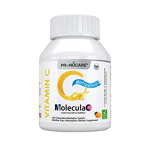 Vitamin C Meltable/Chewable Natural Orange Flavor Ultrafine Easy Oral Absorption PRONUCARE Mouth Refreshing Sore Throat Relieving 100mg Melts Multiple Tablets Daily, 100CT