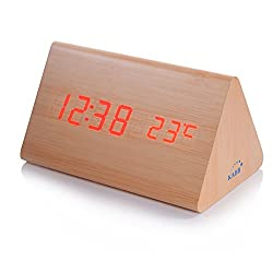 Wood LED Digital Clock, KABB Triangle Design LED Acoustic Control Alarm Clock with Time Date Temperature Display, Modern Wood Grain Electronic Desk Clock for Office and Home Decor (6 inches)