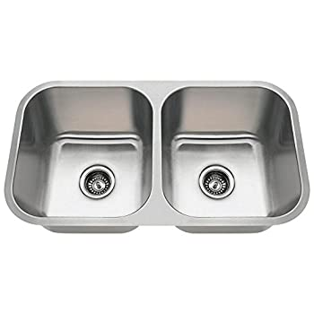 Image of Home Improvements 3218A 18-Gauge Undermount Equal Double Bowl Stainless Steel Kitchen Sink