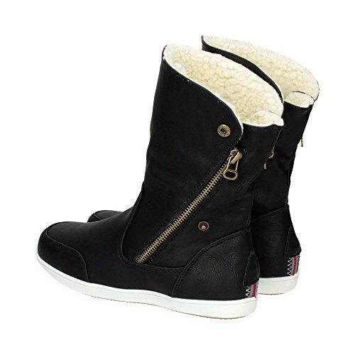 Damen Schlupf Stiefel mit Reißverschluss| Warm gefütterte Stiefeletten im bequemen und modernen Design | Freizeit Boots Schuhe mit flacher Sohle | Gr. 36 bis 41 | Japanolo | Schwarz EU 38